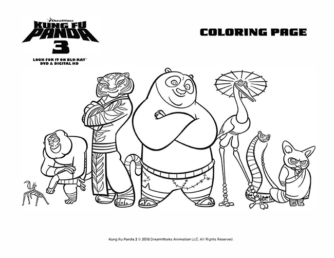 Coloring Pages | Kung Fu Panda Coloring Page for Kids | 502x650