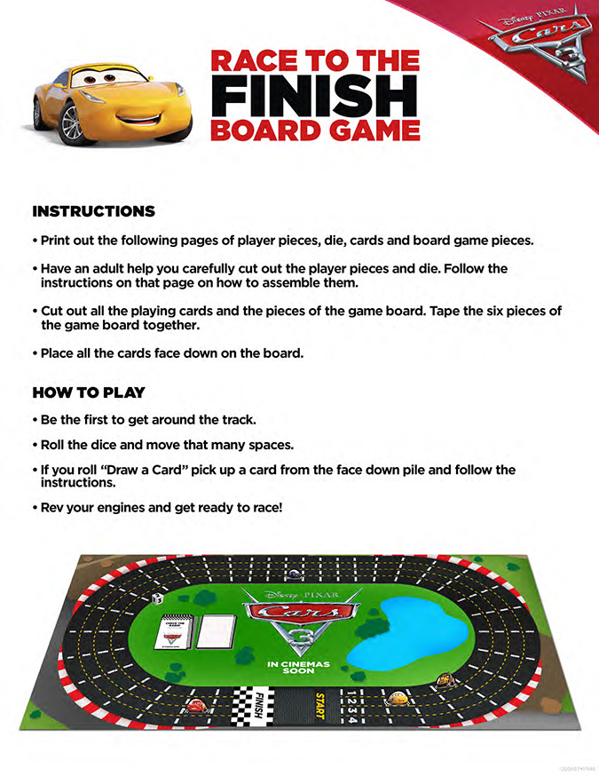 Printable Cars 3 Race To The Finish Board Game Recipe For Miss