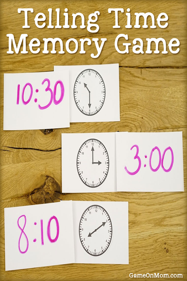 Simple Telling Time Memory Game