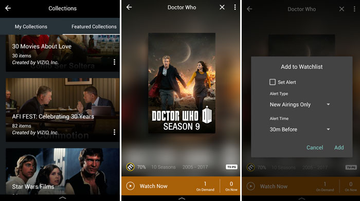 Vizio Smartcast App - Watchlist and Collections