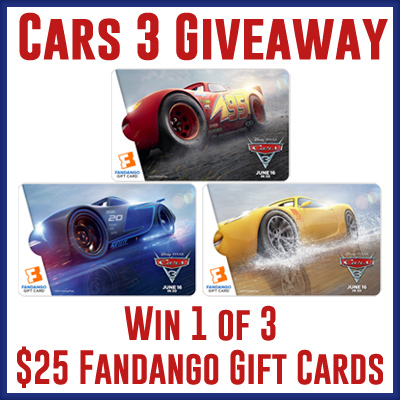 Cars 3 Fandango Giveaway
