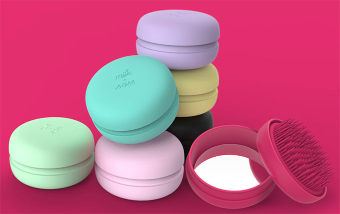Milk + Sass Macaron for Hair Detangling Brush and Mirror