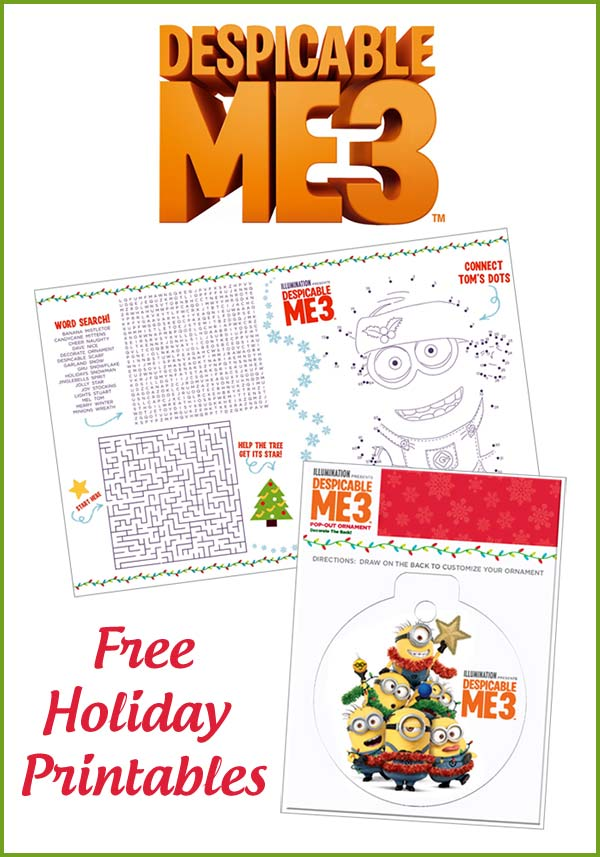 Despicable Me 3 Free Holiday Printables