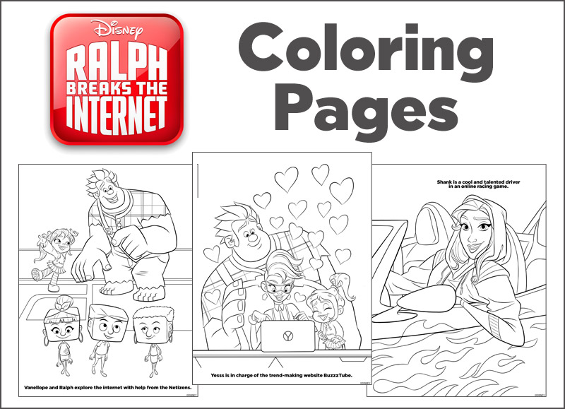 Ralph Breaks The Internet Opens 11/21 + Coloring Pages
